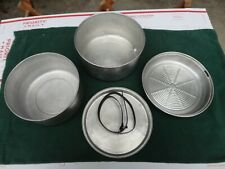 Vintage Camping cookware set mess kit Thick fry pan Easy clean round bottom 4 pc