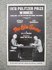 THE GIN GAME Window Card JESSICA TANDY / E.G. MARSHALL NYC 1978