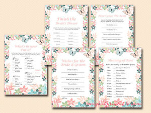 Print Yourself Floral, Butterfly Bridal Shower Games Pack BS105