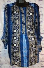 New $69 Nine West small roll tab sleeve blouse blue black print button top