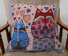 'S-CAT-TER' CUSHIONS, CATS & HEARTS, TAPESTRY FABRIC, VELVET BACK - 0523