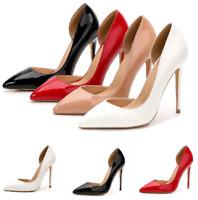 Womens Patent Leather Pointy Toe Stiletto Heel Slip On Nightclub Shoes OL Pumps
