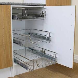 400mm Pull Out Sliding Wire Baskets Drawers Kitchen Cabinets Cupboards Storage