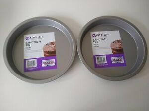 "2 x 18cm Sandwich Cake Tins Sponge Non Stick Pan Round Dish 7"" Inch Baking Oven"