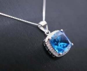 Women's 2Ct Cushion Cut Blue Topaz Diamond Halo Pendant 14K White Gold Over