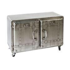 74756 Sideboard Factory Metall anthrazit silber mit 2 Türen auf Rollen H. 59 cm