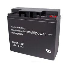 Multipower MP22-12C (12Volt 22Ah) wartungsfreier AGM Bleiakku (Blei/Vlies)