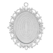 5 Oval Silver Plated Cabochon Frame Settings Pendants Fit 30mm x 40mm (004)