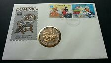 Dominica Walt Disney AMERIPEX 1986 Mickey Mouse Donald Cartoon FDC (coin cover)