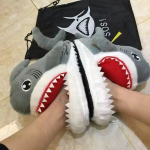Funny Slippers Shark Shape Soft Indoor House Floor Comfy Shoes Furry Cozy Home