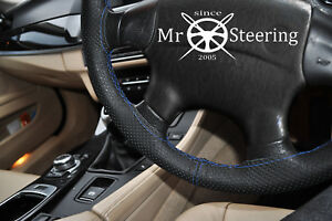 FOR DODGE DURANGO I 97+ PERFORATED LEATHER STEERING WHEEL COVER R BLUE DOUBLE ST