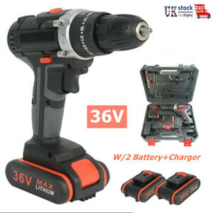 36V Electric Cordless Hammer Impact Power Drill Screwdriver w/2 Battery+Charger