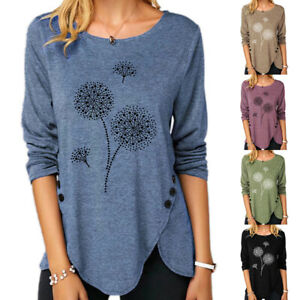 Plus Size Womens Crew Neck Blouse T Shirt Ladies Print Long Sleeve Button Tops