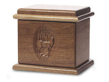 Wood Cremation Urn. Deluxe model with a Black Walnut Finish with a Deer Image