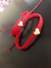 Bebé 2x Rojo Cable Pulsera hecha a mano