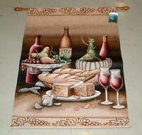 Mediterranean Vino ~ Wine & Cheese Tapestry Wall Hanging