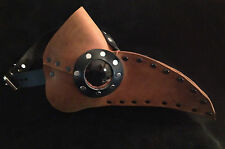 Brown Leather Plague Doctor mask burning hot  steampunk halloween costume man