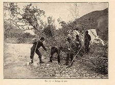 LAVAGE AU PAN RUEE OR GOLD RUSH PROSPECTOR 1907 ENGRAVING