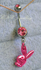316L Surgical Steel Pink Playboy Bunny Rabbit Dangle Navel Bar Belly Ring