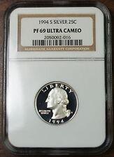 1994-S Silver Washington Quarter, NGC PF-69 Ultra Cameo