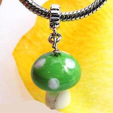 Wholesale 20pcs Green Mushroom Lampwork Glass European Bracelet Charm Beads D371