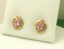 EGKS783 Solid  9ct 375 Yellow Gold Real Pink Sapphire Celtic Knot Stud Earrings