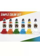 World Famous Tattoo Ink - 1oz. 6 Bottle Color Set 100% Authentic Free Shipping