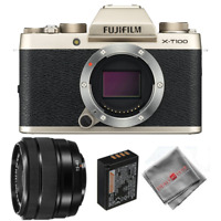 FUJIFILM X-T100 Mirrorless Digital Camera with 15-45mm Lens (Gold)