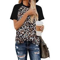 Women Leopard Print Tops Casual T Shirt Blouse Summer Raglan Short Sleeve Shirts