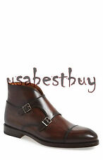 New Handmade Mens Custom Monk Strap Brown Chukka Boots, Men Real Leather Boots