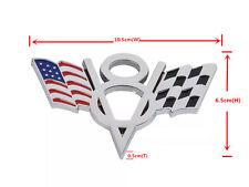 New 2Pcs Silver V8 US Racing Flag Emblem Badge Sticker Metal Chrome For Car SUV