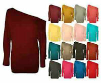 Ladies Long Sleeve Off Shoulder Batwing Top Womens Plain Casual Jersey Size 8-14