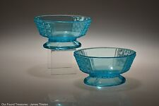 c. 1886 No. 24 Two Panel by King & Son Blue Two - Footed Sauce / Berry Bowls