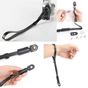 Black Genuine Leather Camera Hand Wrist strap For Canon Nikon Olympus Panasonic