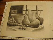 JAN STEELE, drawing: pencil: STILL LIFE: FRUIT, WINDOW, BOWL, CUP