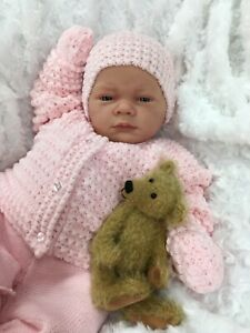 REBORN DOLL GIRL FAKE BABY BALD PINK KNITTED OUTFIT MAGNETIC DUMMY A