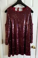 Women's BooHoo Plus Sequin Dress Open Cold Shoulder Open Back US Sz 18