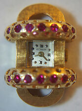 Rare Vintage Women Retro LeCoultre 14K Gold Ruby Accented Cocktail Watch 1920-40