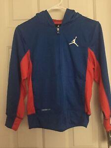 New Nike Air Jordan Therma-Fit Medium 10-12 Full Zip up Hoodie Jacket Blue $70