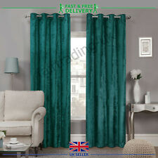 Dark Teal Crushed Velour Faux Velvet Pencil Pleat Eyelet Top Ring Pair Curtains