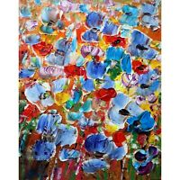 Country Flowers Field Blue Red Yellow Orange Beautiful Blooming in VIVID COLORS