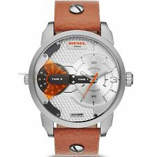 DZ7309 DIESEL Mini Daddy S/Steel 2 Time Zone Watch on Brown Leather Strap £229