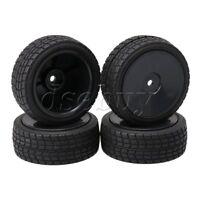 4 PCS Plastic Wheel Rim & Rubber Tires 12mm Hex for RC 1:10 On-Road Racing Car