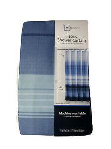 Mainstays Blue Ombre Stripe 70 inch x 71 inch Fabric Shower Curtain Brand New