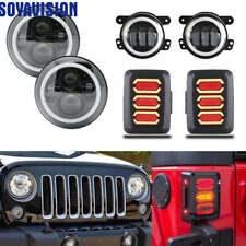 7'' LED Headlight w/ Fog Turn Signal Lamp +Tail Light for Jeep Wrangler JK 07-17