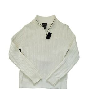 NWT Mens White Cotton Brooks Brothers 346 Cable Knit 1/4 Zip Sweater M