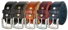 """One Piece Genuine Leather Casual Work Belt 1-1/2"""" Antique Nickle or Black Buckle"""