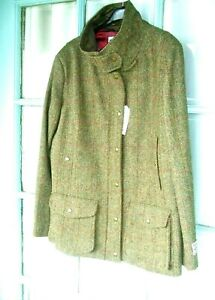 Ladies HARRIS TWEED New with tags Field Coat XL 18 UK Golden brown red overcheck