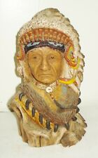 VINTAGE USA SIGNED INDIAN CHIEF FIGURINE SCULPTURE NICE DESIGN MARY COUPE NR