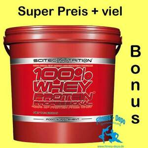 Scitec Nutrition 100% Whey Protein Prof. 5000g Eimer + Probe+ BCAA 6400- 125 Ta